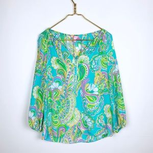 Lilly Pulitzer Silk Printed Long Sleeve Blouse